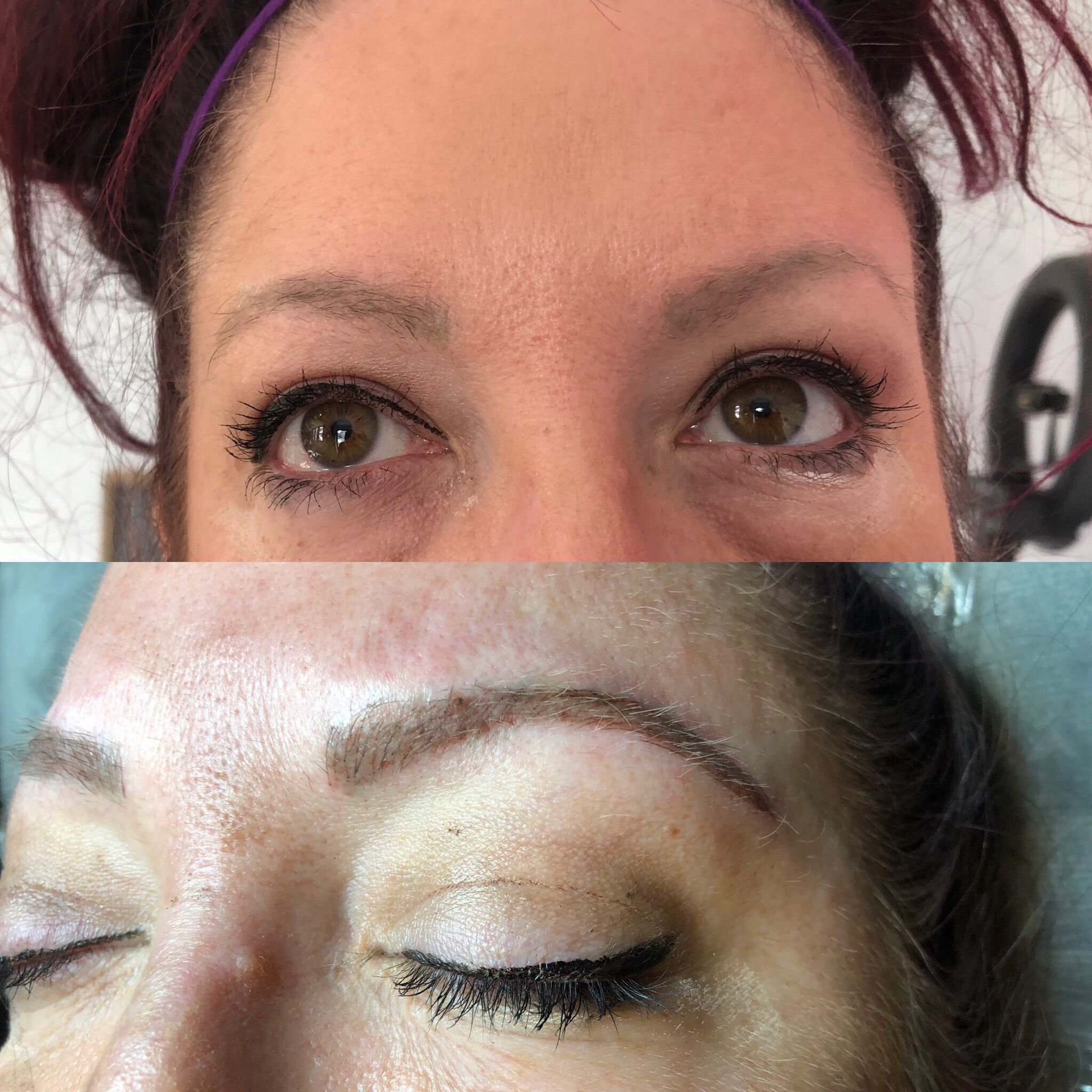 This girl had green eyebrows . I did microblading with ...