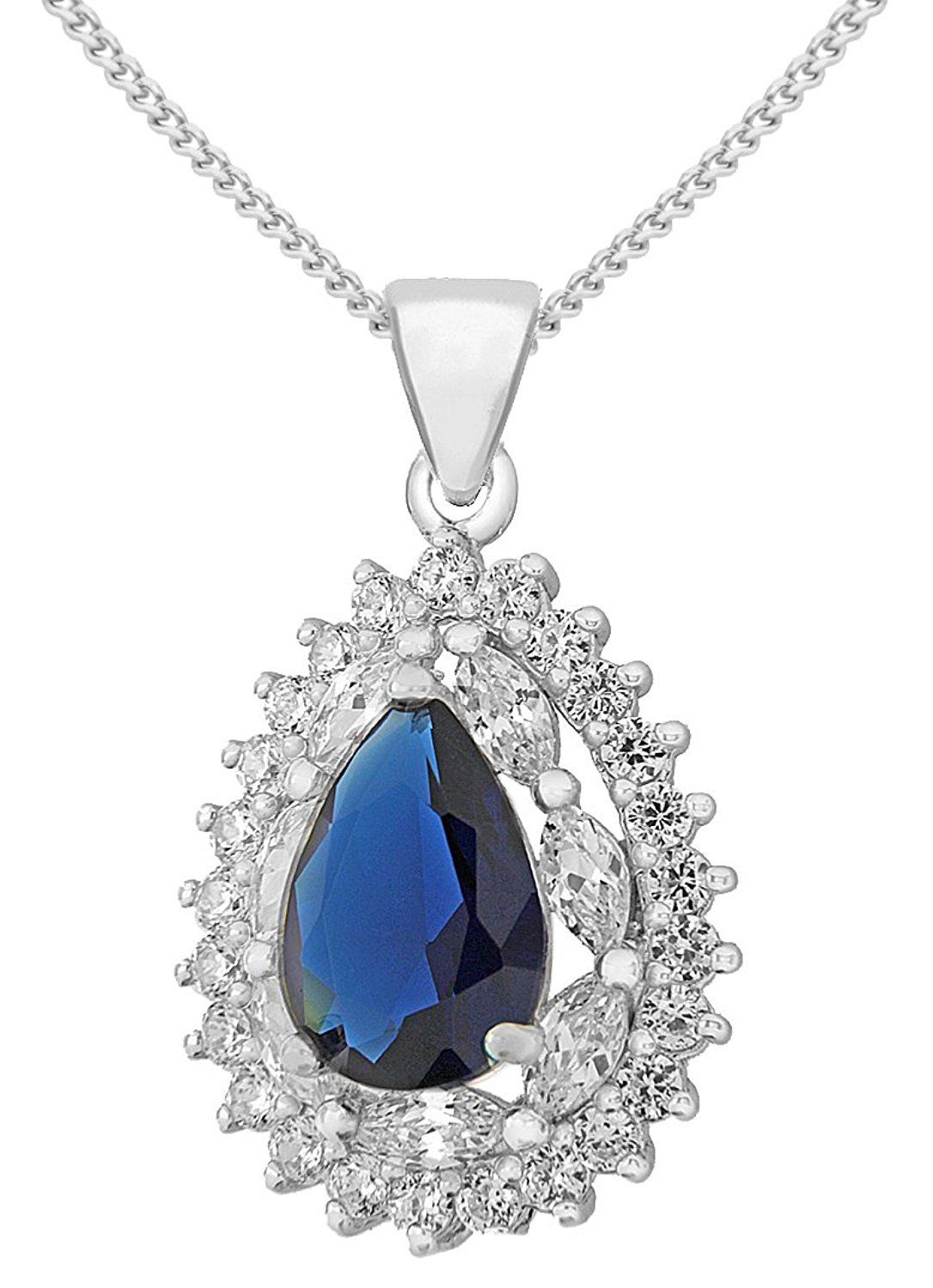 Tuscany Silver Sterling Blue And White Cubic Zirconia Cer Teardrop Pendant On Chain Necklace Of