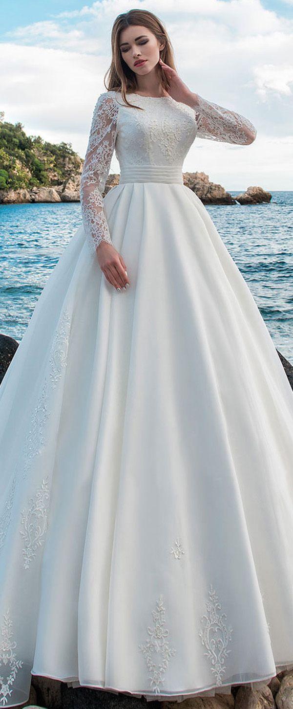 NEW! Modest Lace & Organza Jewel Neckline A-line Wedding Dress With ...