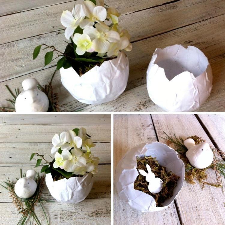 eierschale aus papier basteln wie pappmasche wug pinterest ostern osternest basteln und. Black Bedroom Furniture Sets. Home Design Ideas