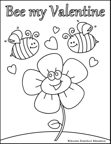 preschool coloring pages valentines day | Pin by Odette Venzke on Cute Bee's | Valentine coloring ...