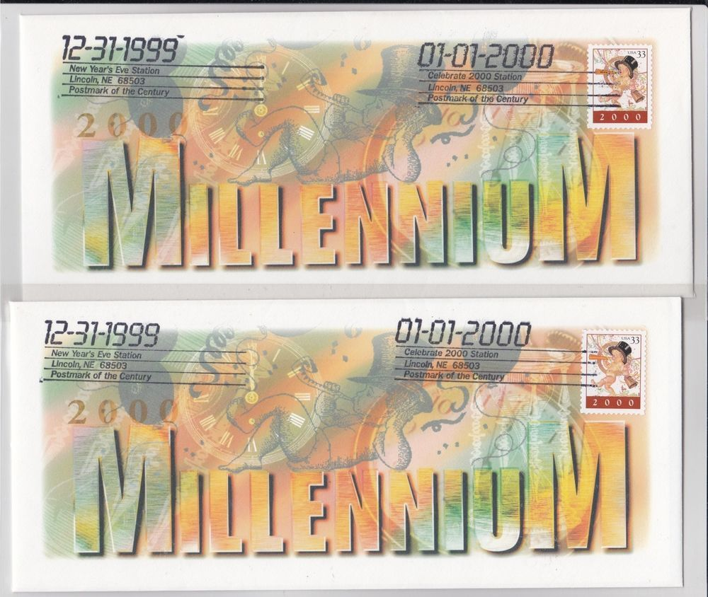 2 Cached Usps 33cent 3369 New Year S Eve Baby Y2k Millennium Lincoln Ne Fdc New Years Eve Postmark Baby New Year