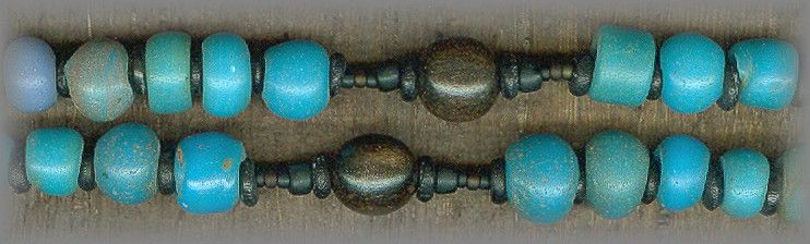 "Rosary using Padre beads: This bead was very popular in the SouthWestern part of our U.S., thus the Spanish name ""Padre' for Father. The small 'pony beads' (carried on ponies) were popular with the Priests along with the indians. They were traded for food and information along with fur pelts."