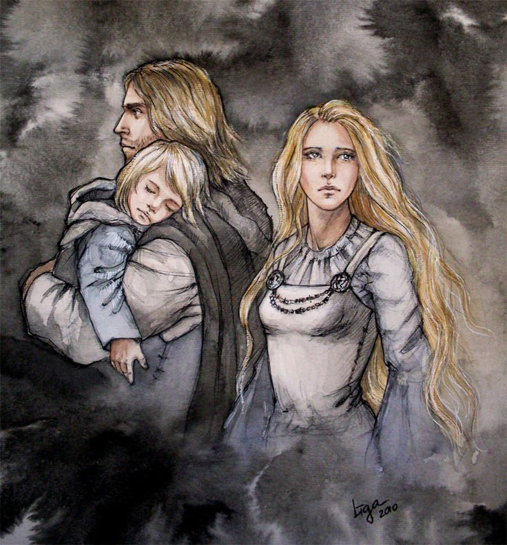 Family by liga-marta (Tuor, his wife Idril and son Earendil after the fall of Gondolin)
