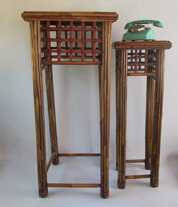 Rattan Nesting Tables Vintage Two Tall Accent Stands Square
