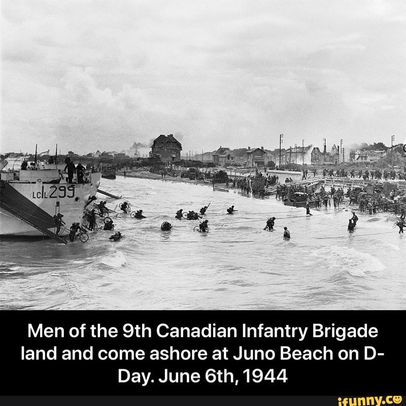 Men Of The 9th Canadian Infantry Brigade Land And Come Ashore At Juno Beach On D Day June 6th 1944 Men Of The 9th Canadian Infantry Brigade Land And Come A