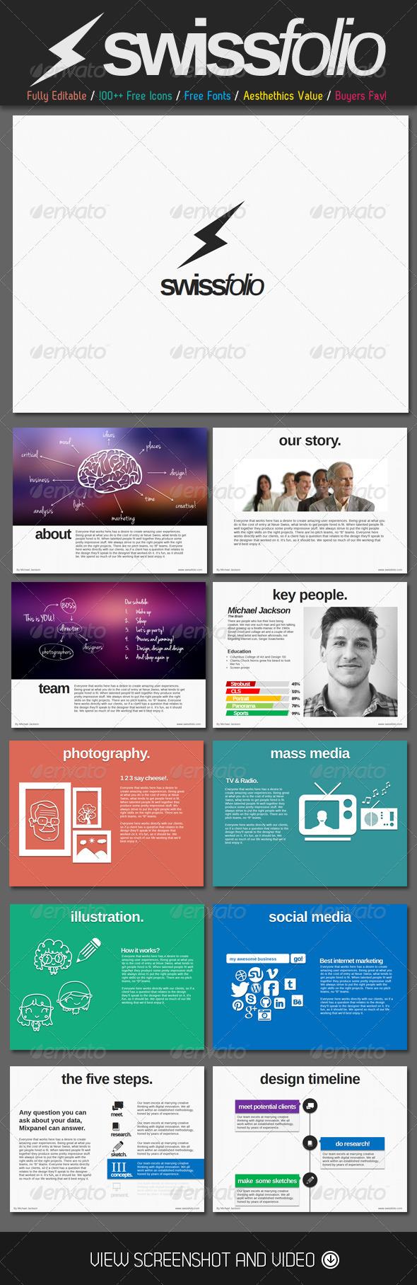swiss folio powerpoint template   presentations   pinterest, Graphicriver Folio Powerpoint Presentation Template, Presentation templates