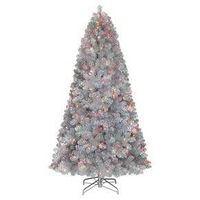 7ft Pre Lit Artificial Christmas Tree Silver Tinsel Alberta Spruce Multicolored Lights T Retro Christmas Tree Silver Christmas Tree Rotating Christmas Tree