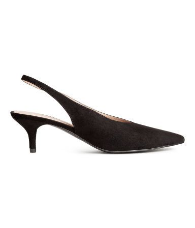 57699a552316 Slingbacks in faux suede with pointed toes and an elasticized strap at heel.  Faux leather lining and insoles. Rubber soles. Covered kitten heels