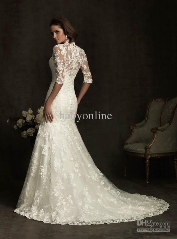 2017 New Dubai Elegant Long Sleeves A-line Wedding Dresses Sheer ...