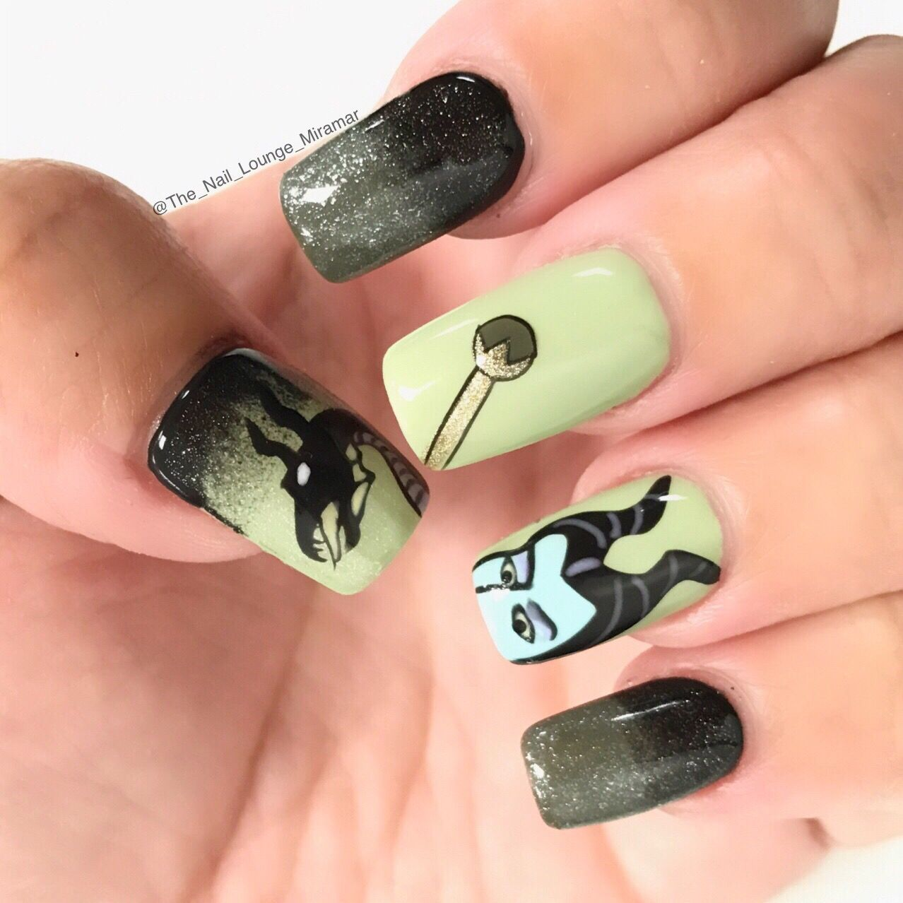 Maleficent nail art design | Nail Art | Pinterest | Maleficent nails ...