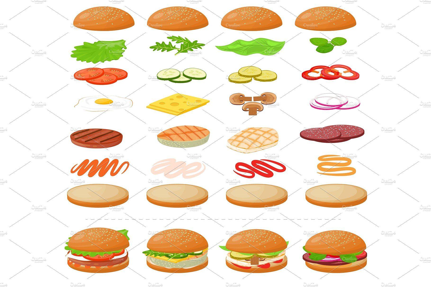 Burger vector fast food hamburger or cheeseburger