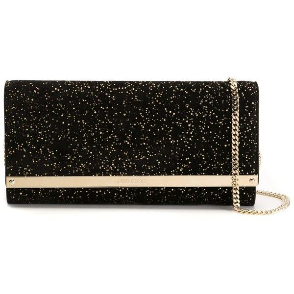 Jimmy Choo Milla Clutch (2,300 SAR) ❤ liked on Polyvore featuring bags, handbags, clutches, black, jimmy choo handbags, jimmy choo purses, chain strap purse, chain strap handbag and jimmy choo