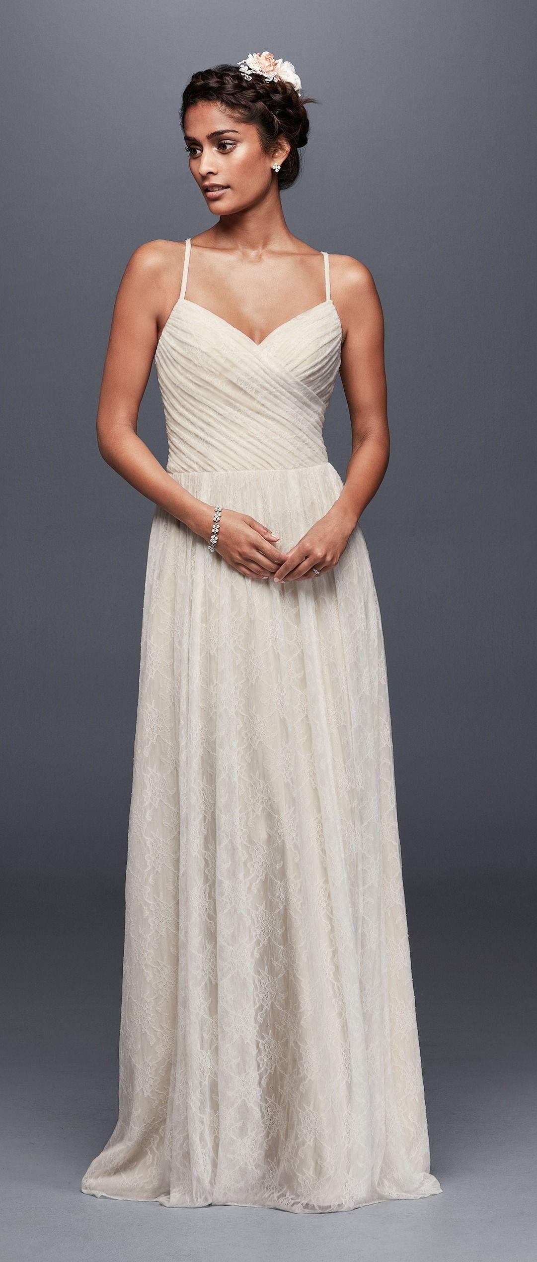 Spaghetti Strap Sweetheart Neckline Soft Lace Wedding Dress with ...