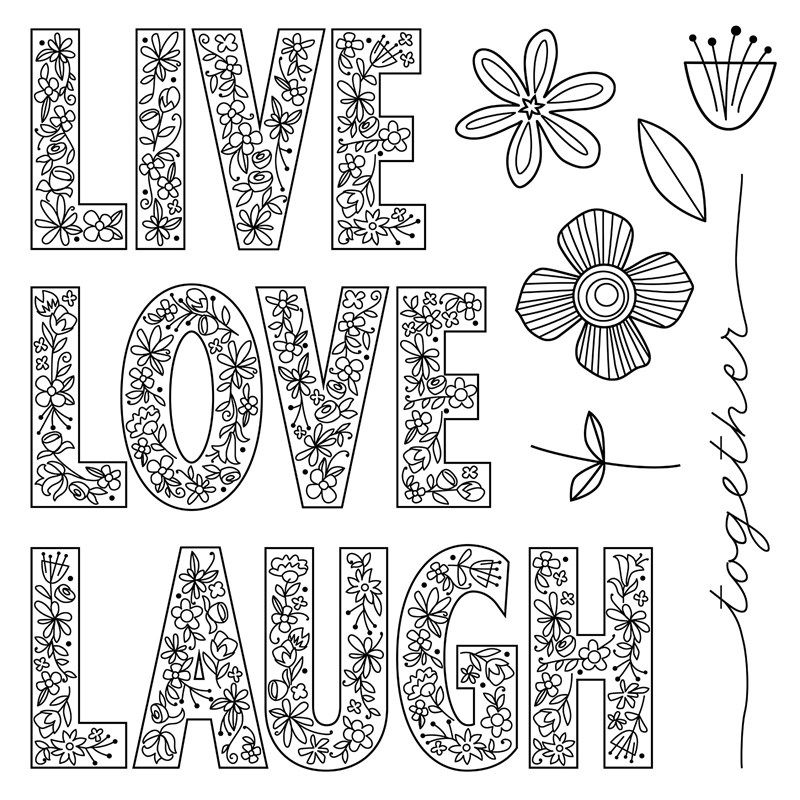 May S Stamp Of The Month Live Laugh Love S1705 Shop Www Keeleyskreations Ctmh Com Close To My Heart Love Coloring Pages Love Stamps