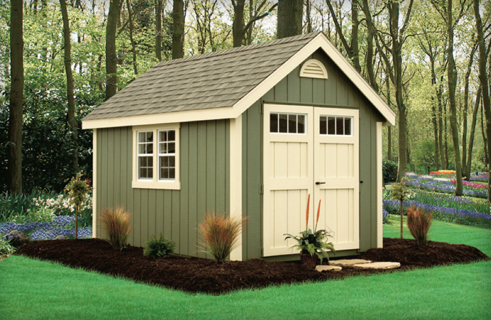 Green backyard shed with almond trim i also love the for Shed and homes