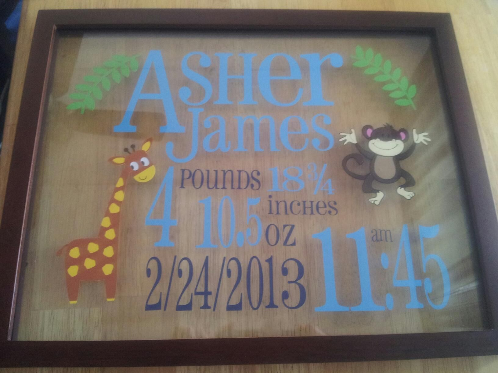 Floating Frame Birth Announcement