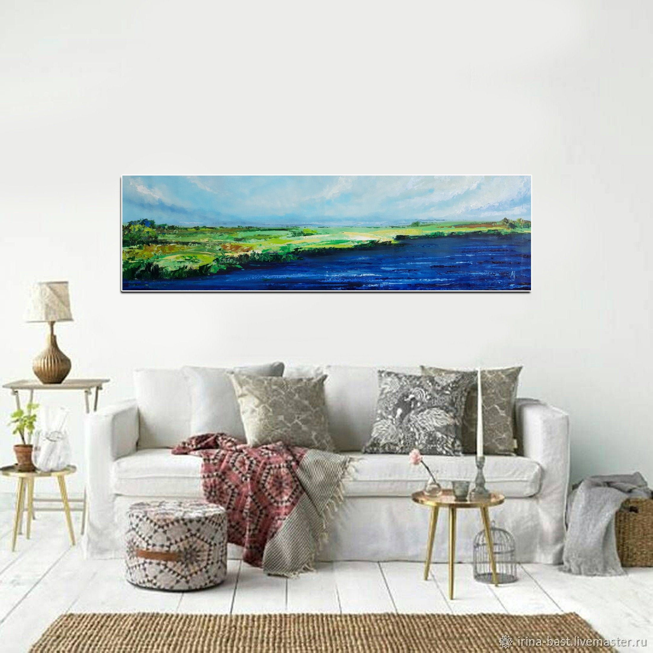 Horizontal Wall Art Horizontal Painting Long Painting Etsy Horizontal Painting Horizontal Wall Art Long Painting