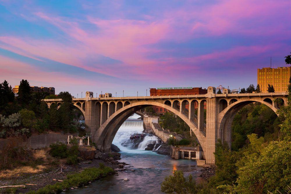 Maple Street Bridge in Spokane at Sunset Maple Street