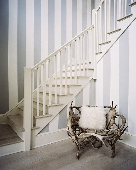 Wooden Stairs With Painted Stripes Updating Interior: Striped Walls, Hallway Decorating, Decor