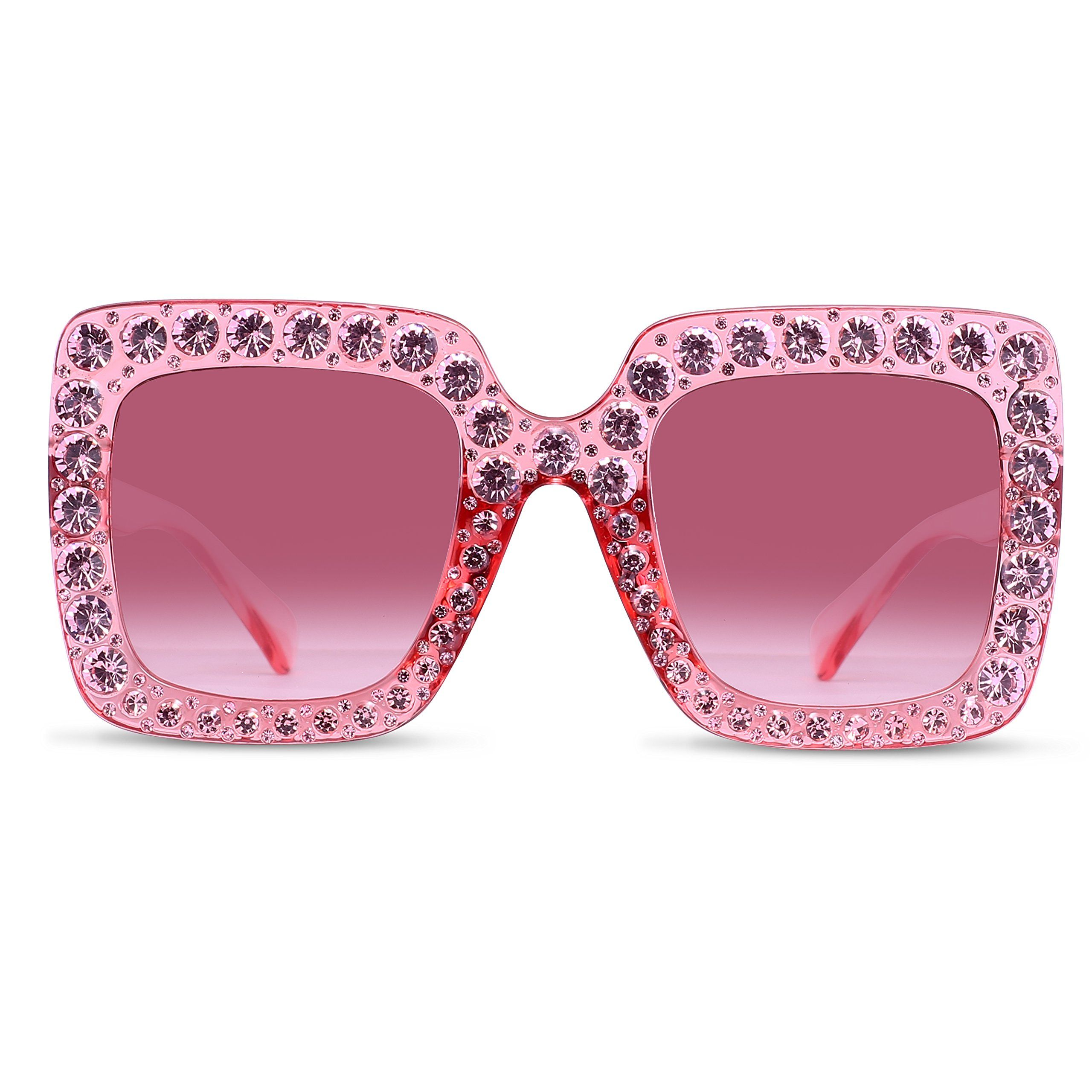 88afaf0c22 Oversized Crystal Sunglasses For Women – FEIRDIO Sparkling Square Thick  Sunglasses FD 2264(Pink gradient)   Want to know more