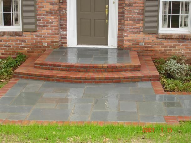 brick front porch styles greenland