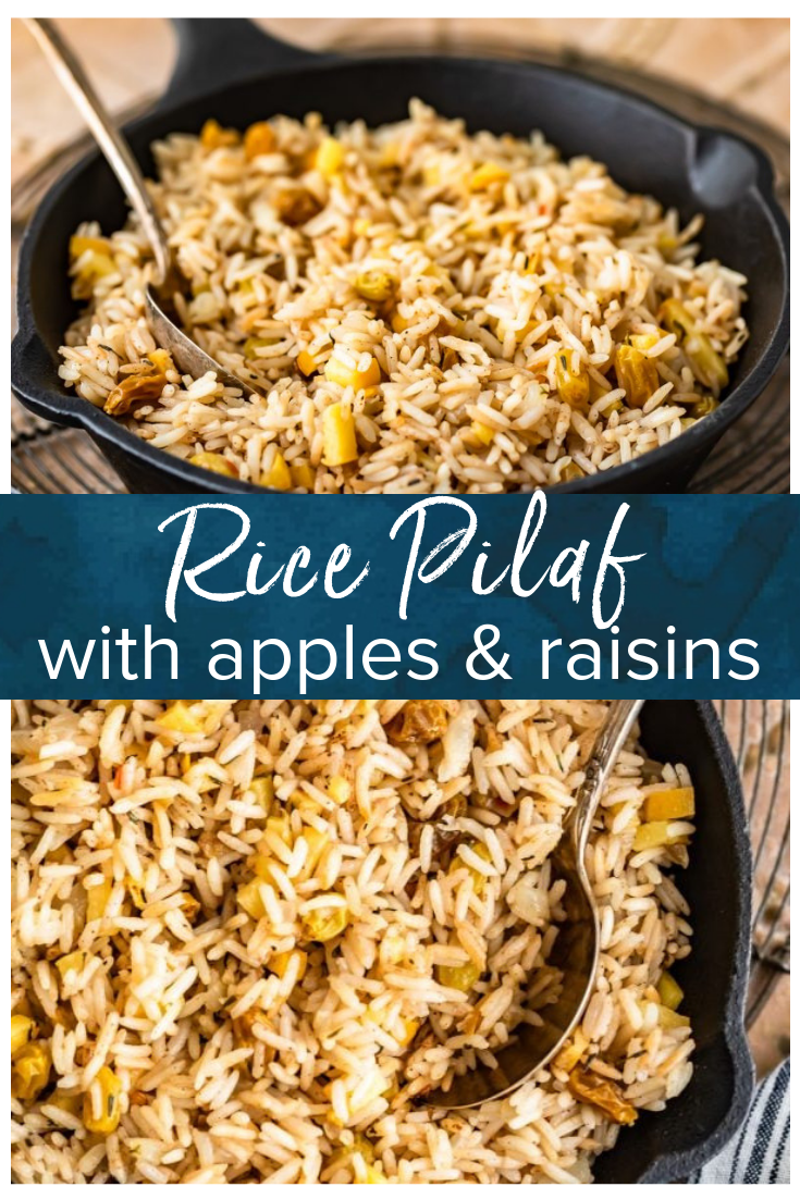 Rice Pilaf is a great side dish for any meal. Make it better by spicing it up with some cinnamon, apples, and raisins like we did in this easy rice pilaf recipe! It's perfect for holidays or any hearty dinner. #thecookierookie #rice #sidedish #holidayrecipes #easyricepilaf