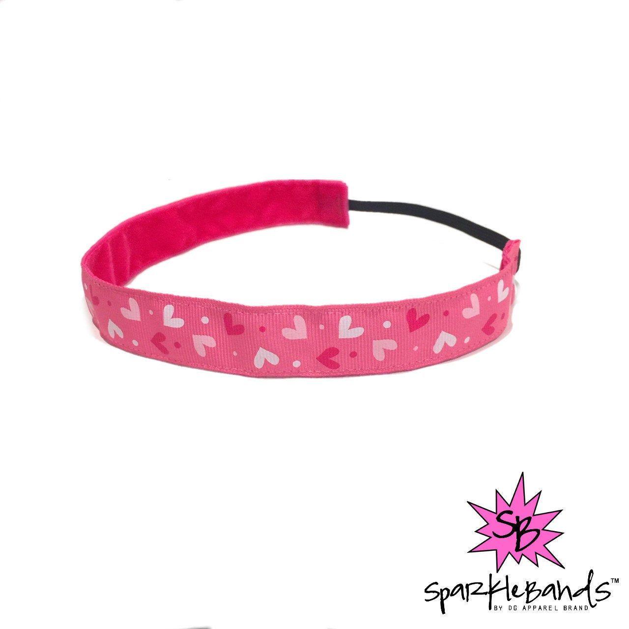 Little pink hearts headband no slip headband non slip
