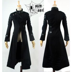 Black Seventies Punk Rock Gothic Matrix Long Trench Coats Men ...