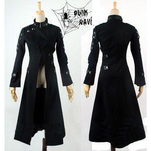 Black Seventies Punk Rock Gothic Matrix Long Trench Coats Men ...
