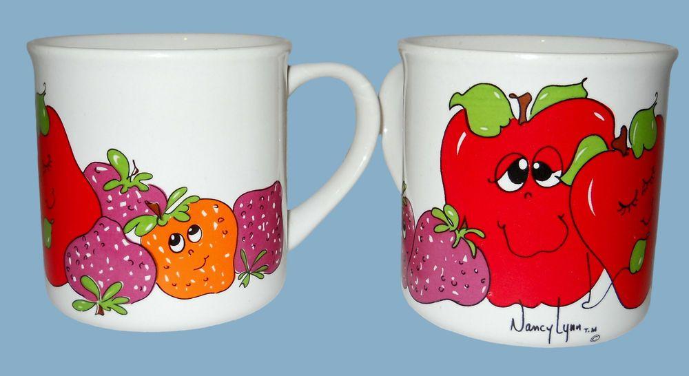 Coffee Mugs x 2 Anthropomorphic Smiling Fruit Signed Nancy Lynn ...