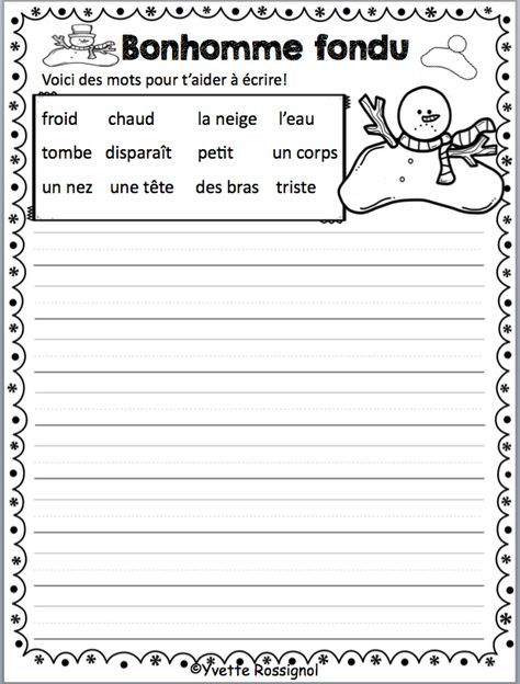 french winter writing prompts with word bank and self check rubric immersion fran aise. Black Bedroom Furniture Sets. Home Design Ideas
