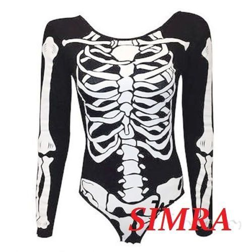 New womens ladies halloween skeleton x ray bones haloween party