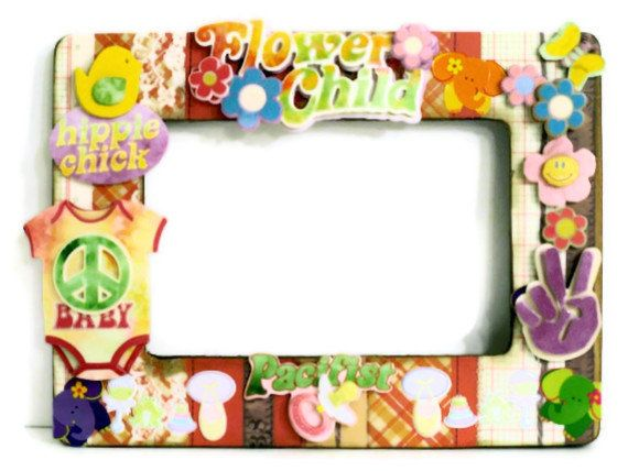 Hippie Chick Picture Frame Collage - Baby Girl Nursery Decor ( Boho / Embellished / Pacifist) Flower Girl