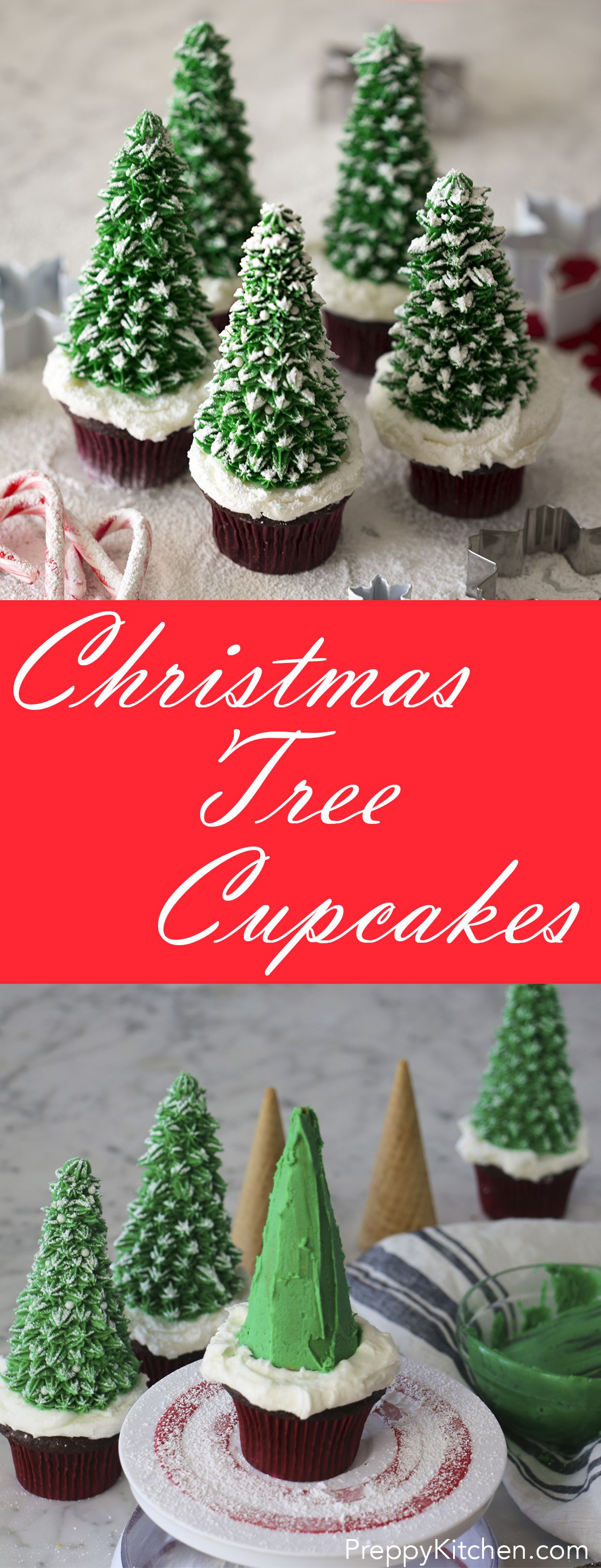easy to make holiday cupcakes that look like snow covered christmas trees via preppykitchen