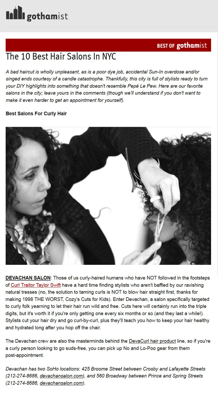 Gothamist The 10 Best Hair Salons In Nyc Featuring Devachan Salon Best Hair Salon Nyc Hair Salon Curly Hair Salon