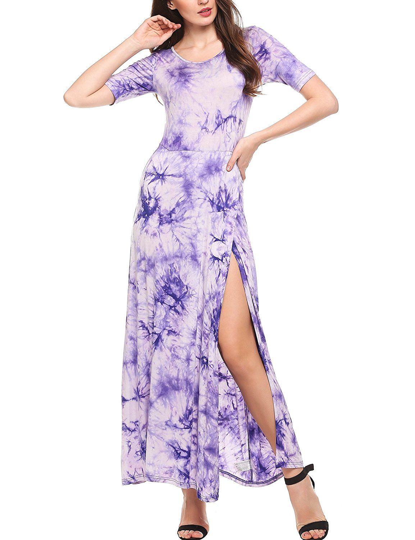 Meaneor women high split tie dye sleeve party evening long maxi