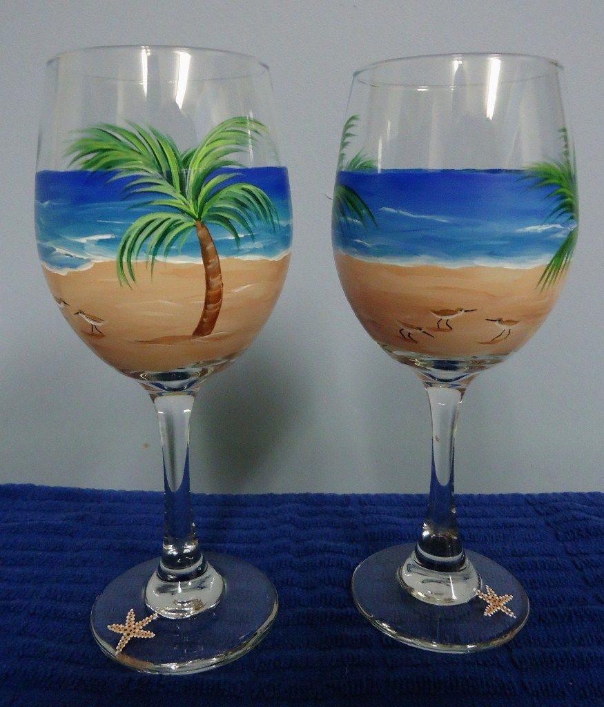 20 oz hand painted wine glass palm tree and sandpipers for Hand painted wine glasses