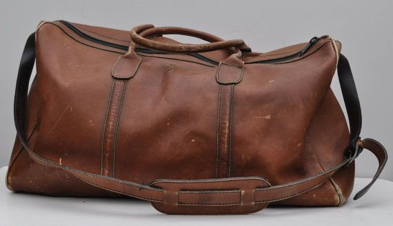 a995532461ef vintage leather duffle bag duffel vintage 1970s leather CARRY-ON tote  shoulder luggage bag overnight DUFFLE ( 50-100) - Svpply