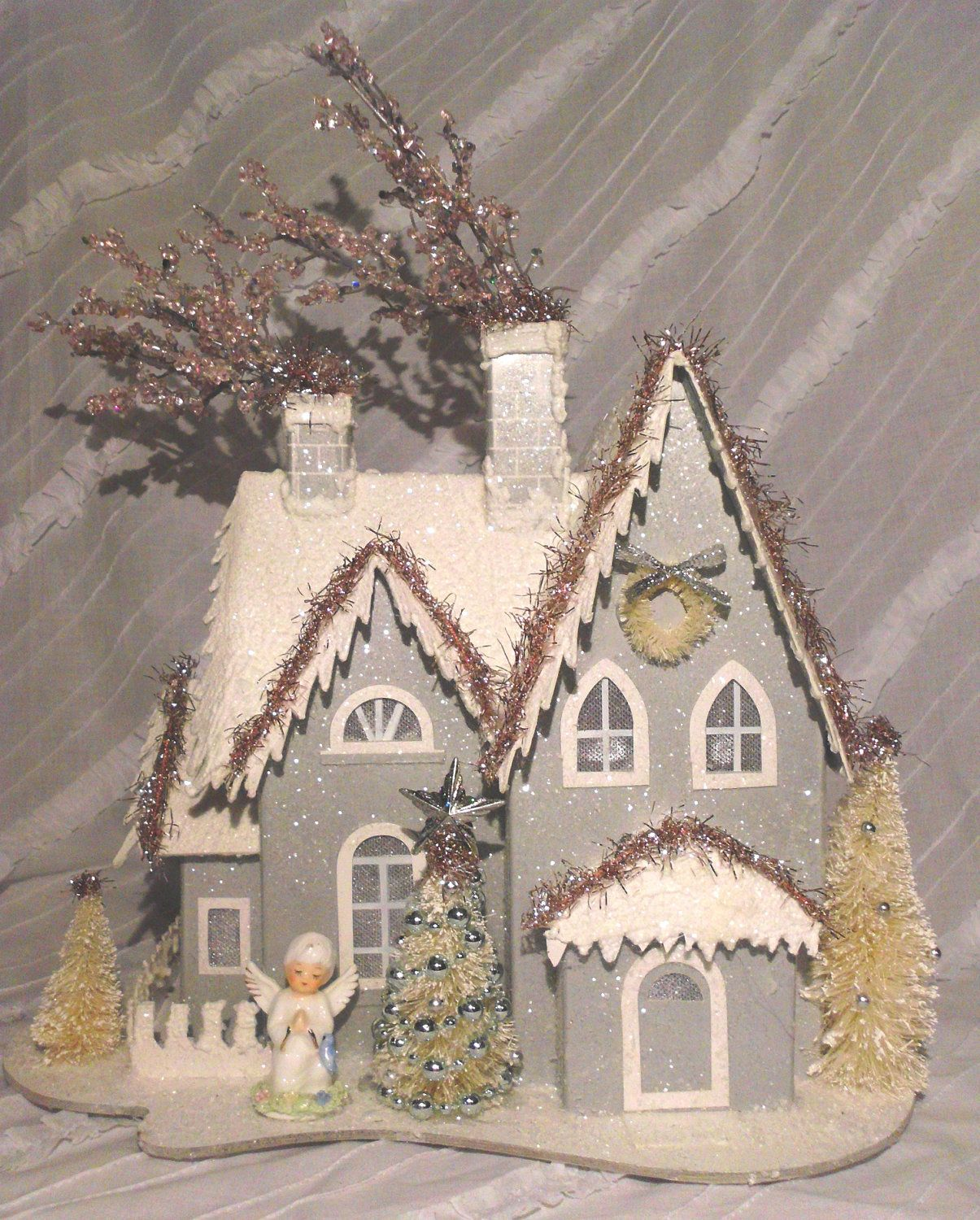 Silver Vintage Inspired Christmas Putz House | Winter ...