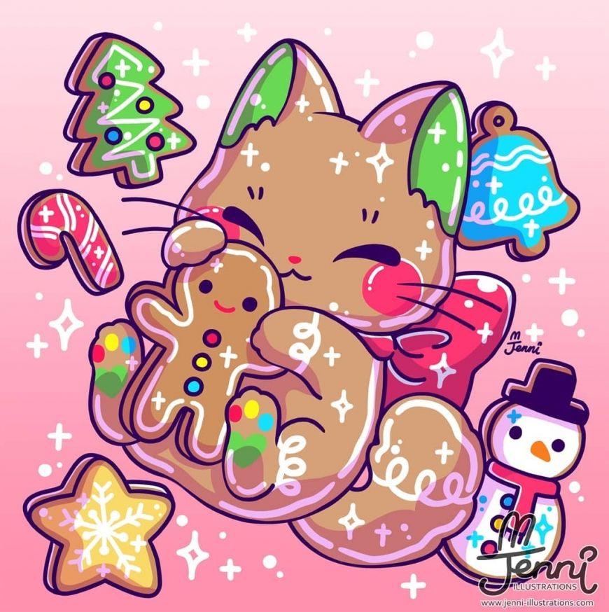 Cute Christmas Kitten Art Kitten Art Kitten Drawing Cute Kawaii Drawings