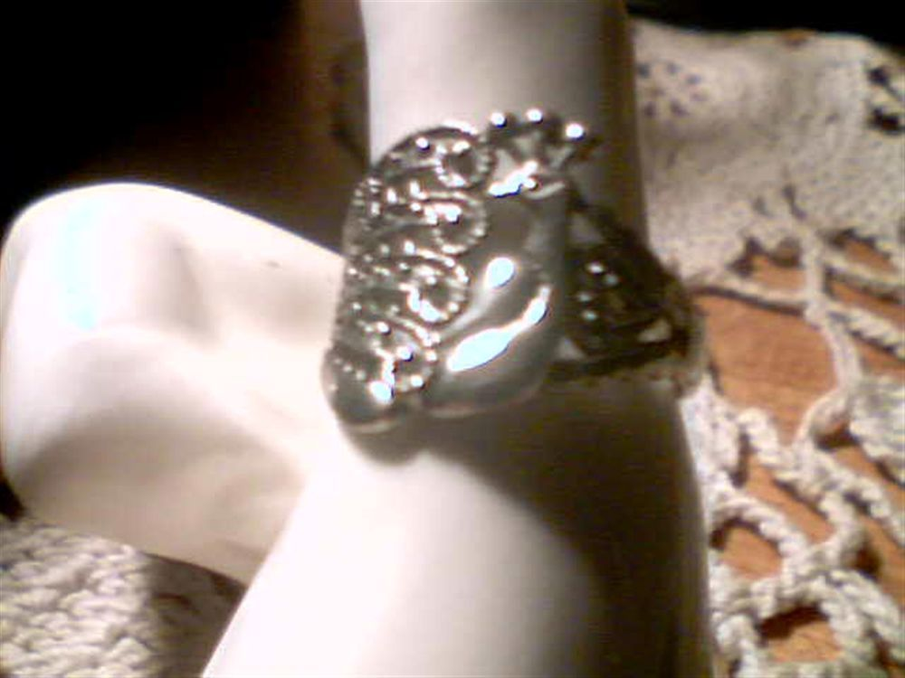 Sorry...SOLD   Pretty Antiqued Silver Finish Stunning Beautiful Peacock Ring Size 8