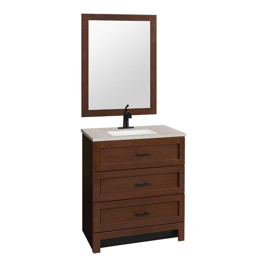 Hammond Bark Integral Single Sink Bathroom Vanity With Solid Surface Top  (Common: 30