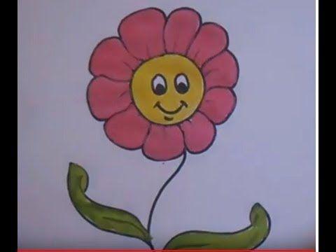 رسم وردة للاطفال تلوين صباغة How To Draw Flower And Coloring Pinting For Kids Youtube Art Drawings Flowers