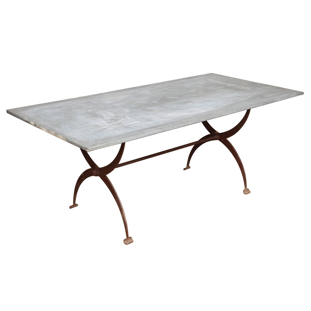 1stdibs Vintage Zinc Top Table Metal Dining Table Dining Table Metal Base Dining Table