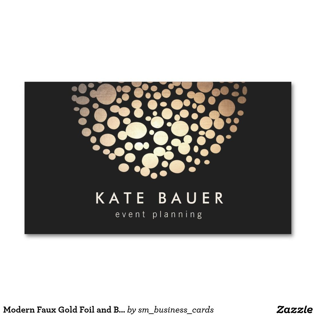 Modern Black and Gold Event Planner Business Card | Business cards ...