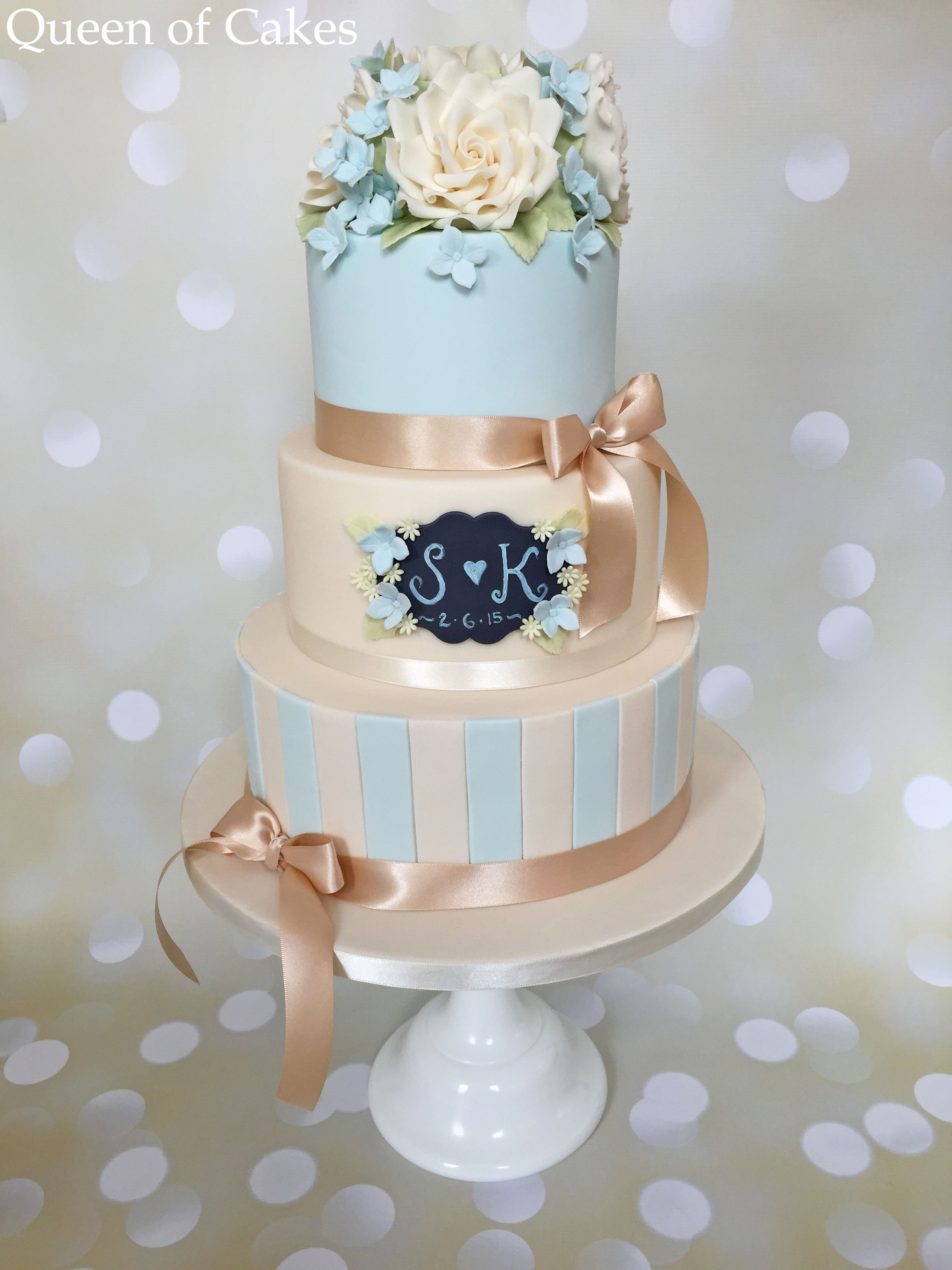 Pale Blue And Ivory Vintage Style Wedding Cake With Chalkboard Detail Sugar Flowers