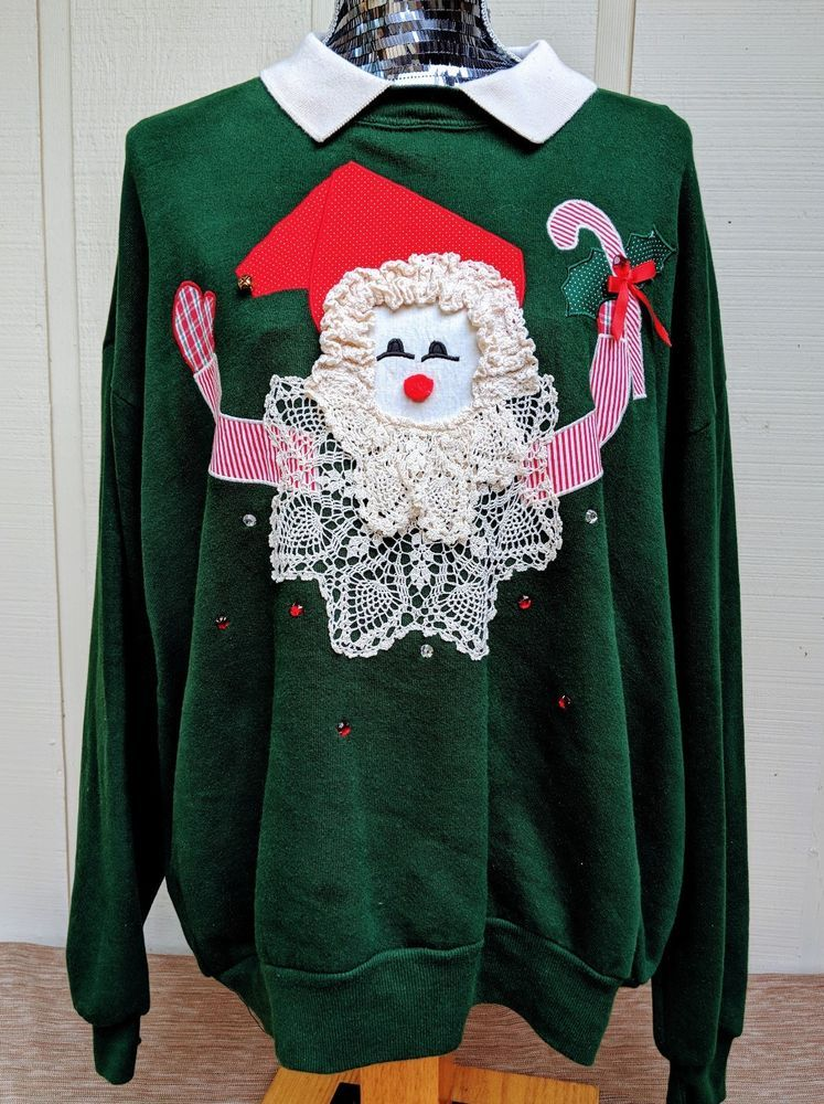 d1b7e2dc08 This fabulous vintage ugly Christmas sweater sweatshirt came from the  estate of an old lady