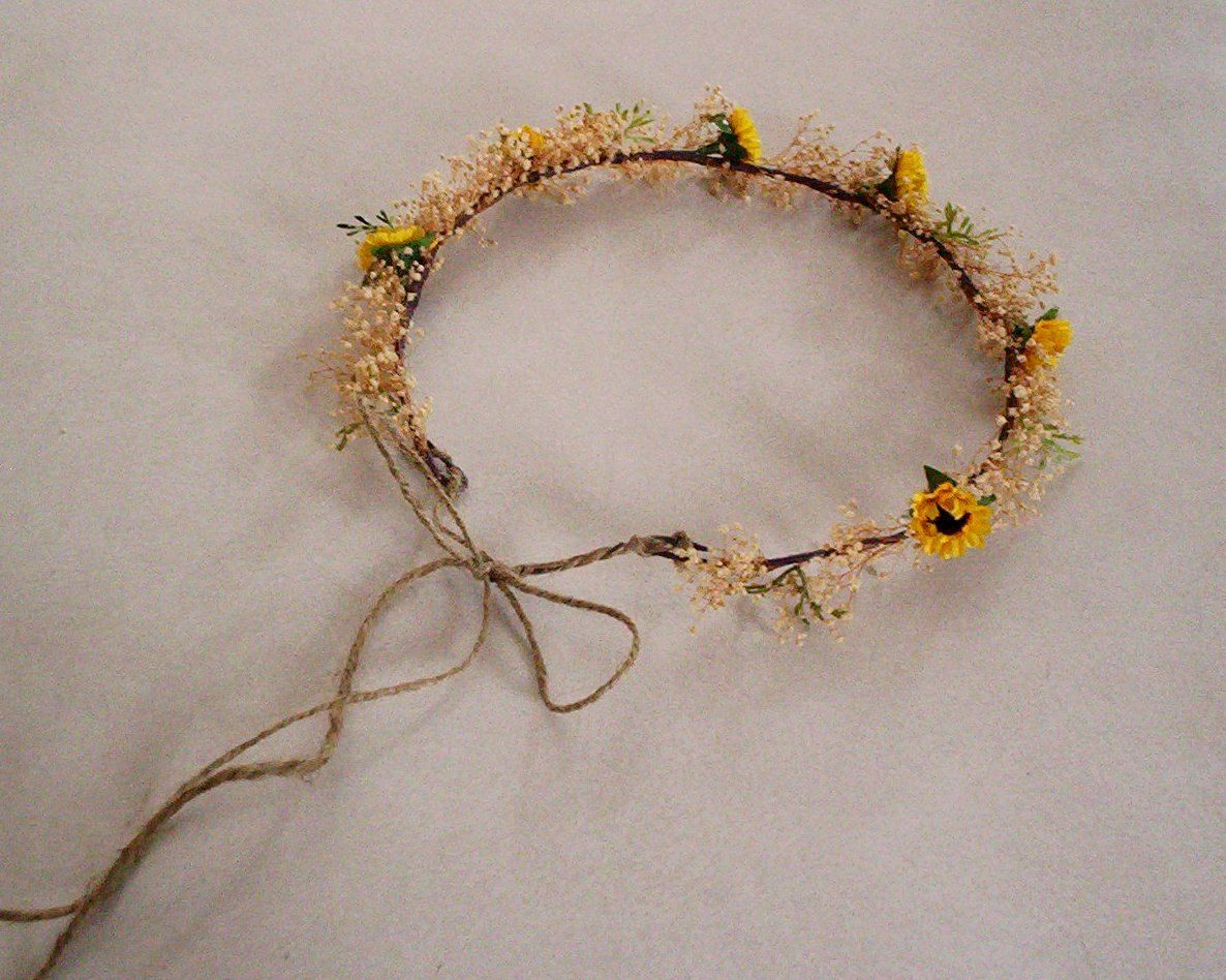 Wedding accessories sunflower bridal hairpiece rustic flower crown sunflower twine bridal hairpiece rustic flower crown woodland headwreath natural babys breath haha could probably diy this phelps izmirmasajfo Gallery