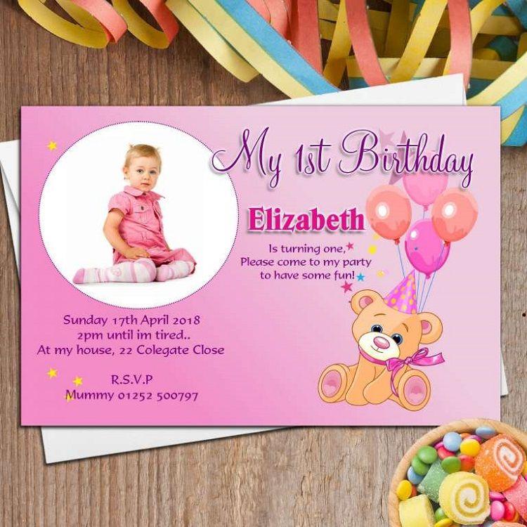 Pink Birthday Invitation Card Maker Online Free